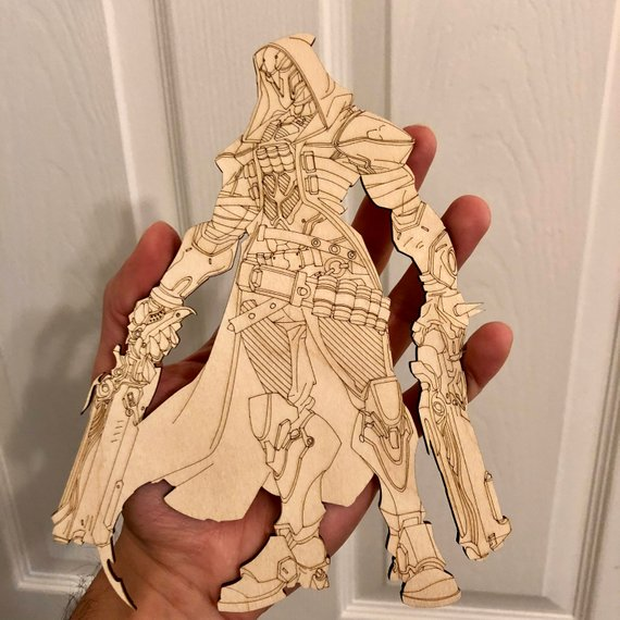 Laser Cut Overwatch Reaper Figma Action Figure Free Vector