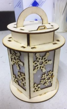 Laser Cut Snowflake Pattern Lantern Template SVG File
