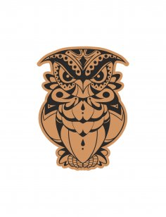 Decorative Angry Bird Owl Laser Cut Engraving Template Free Vector