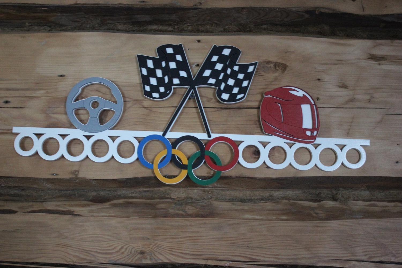 Car Racing Sports Medal Hanger Display Free Vector