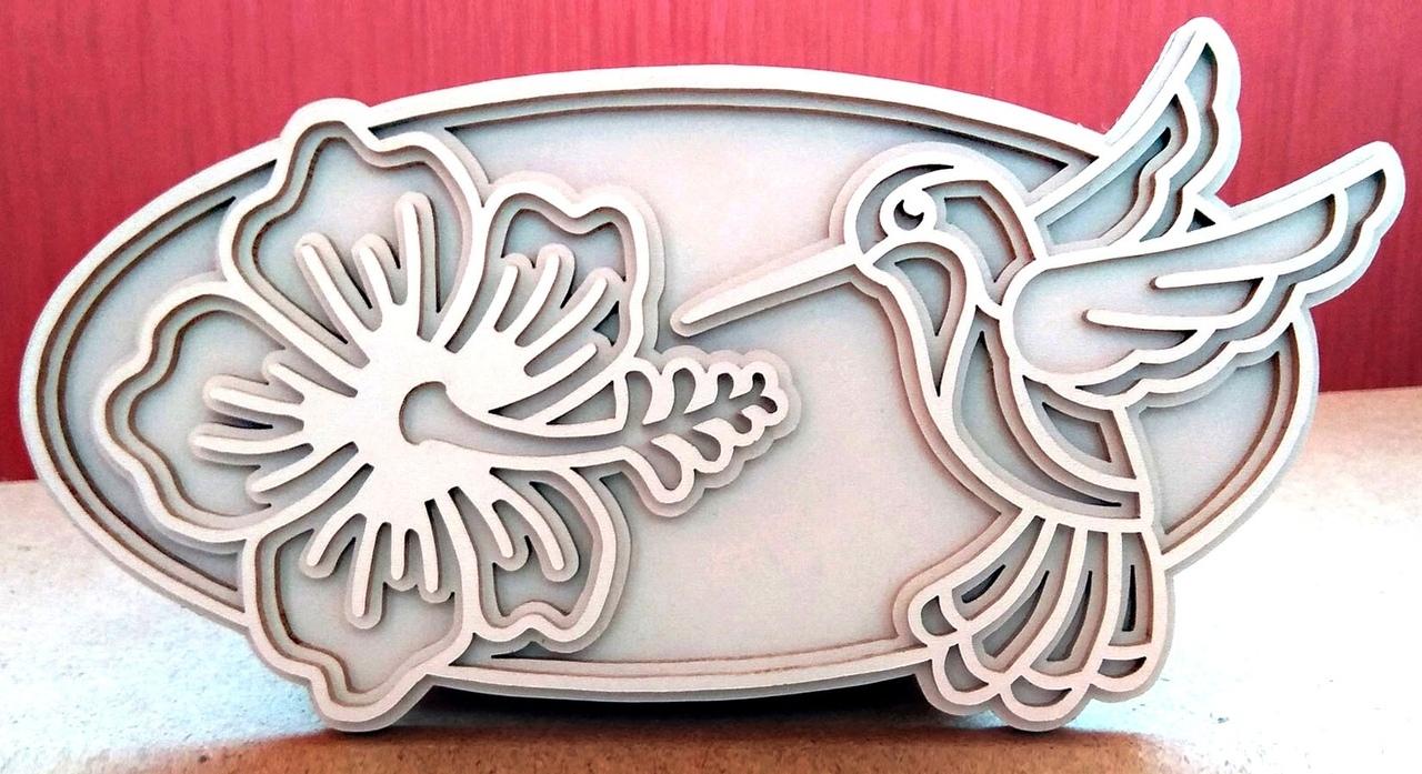 Laser Cut Wooden Layered Art Hummingbird Free Vector