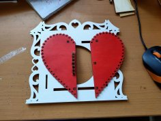 Laser Cut Wooden Heart Shape Decorative Frame Free Vector