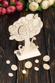 Laser Cut Wooden Easter Tree Decoration Wooden Easter Eggs Free Vector