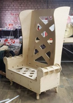 Wood Throne Chair High Back Sofa Chair Laser Cut Template Free Vector