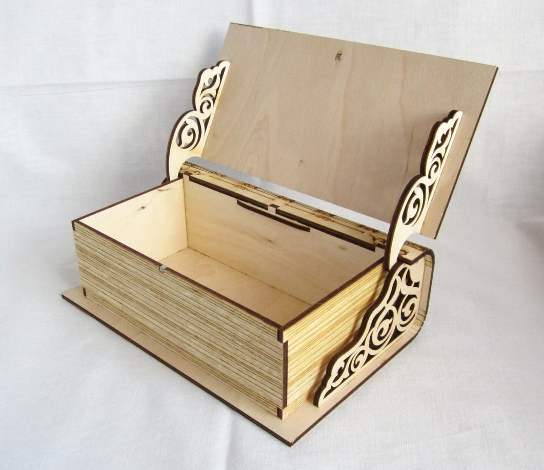 Laser Cut Engraved Wooden Book Shape Box With Lid Free Vector