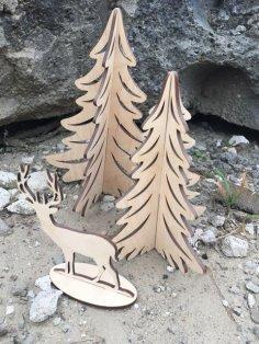 Laser cut Christmas Tree Reindeer Free Vector