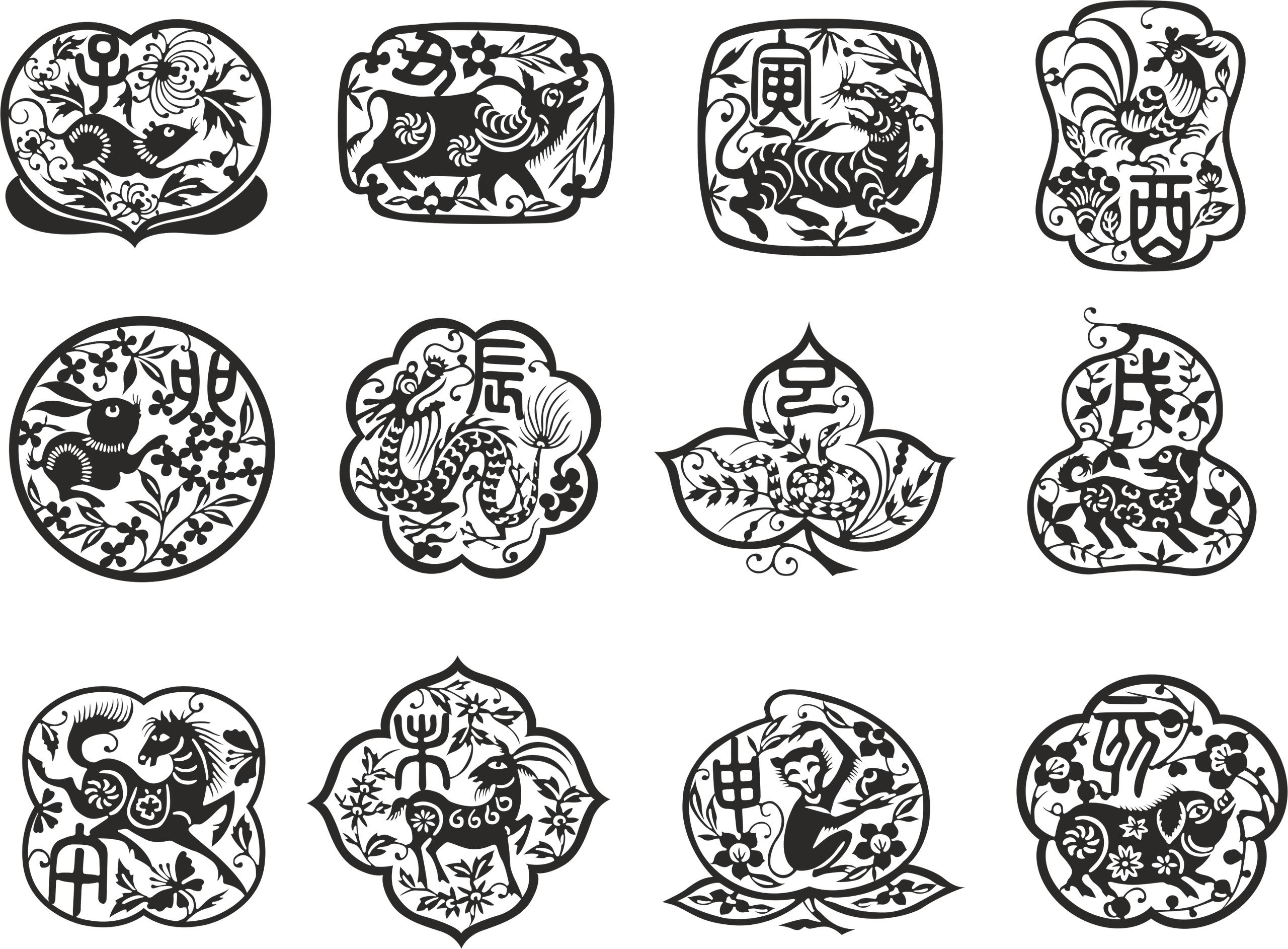 Asia Zodiac Set Free Vector