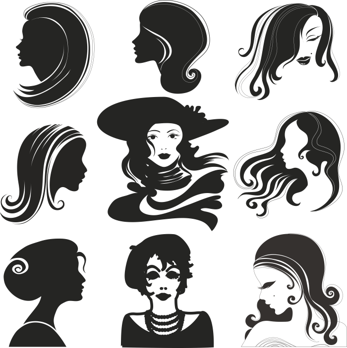 Female Models Silhouettes Free Vector