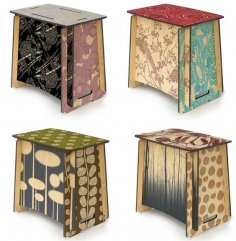 Laser Cut Zaishu Stools Side Tables Slot Together Seat DXF File