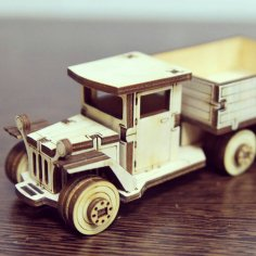 Laser Cut Wooden Truck Toy Vehicle Free Vector