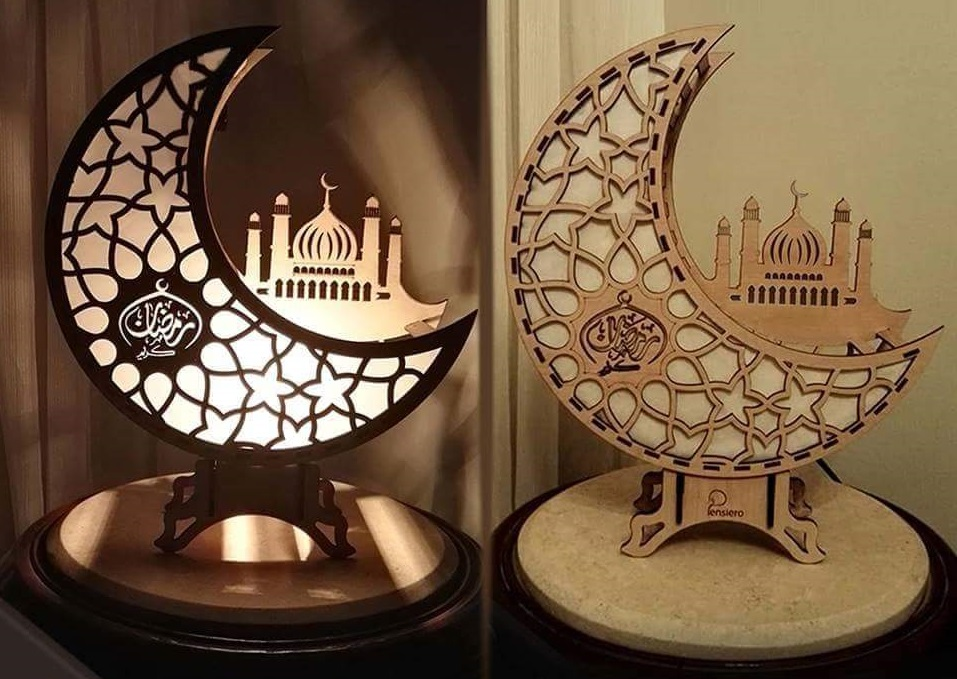 Laser Cut Wooden Ramadan Decoration Night Light Moon Free Vector