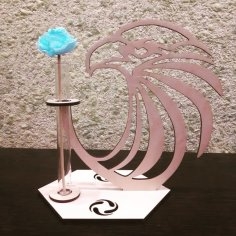 Laser Cut Wood Eagle Head Crystal Glass Test Tube Vase Wooden Stand Flower Pot Free Vector