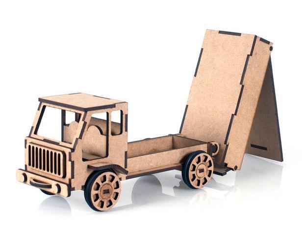 Laser Cut Lorrey Truck Toy Model Free Vector