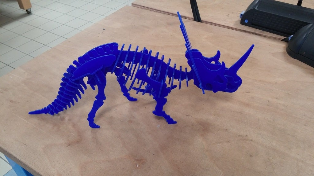 Laser Cut Styracosaurus 3D Puzzle 3mm DXF File