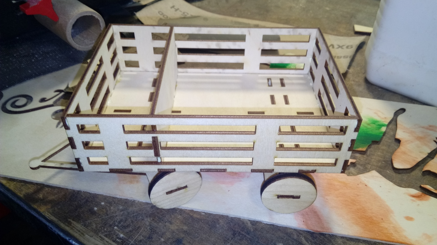 Laser Cut Cart Napkin Holder With Spice Rack Free Vector