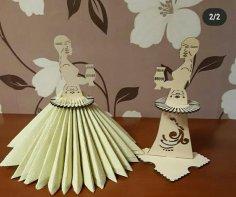 Laser Cut Napkin Holder Yakut Girl In National Costume Holding Sakha Choron Free Vector