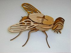 Laser Cut Wooden Fly 3D Puzzle Model Template Free Vector