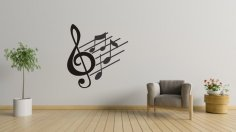 Laser Cut Music Notes Wall Art Free Vector