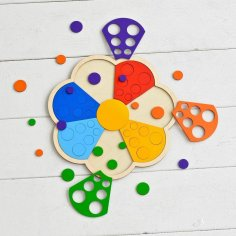 Laser Cut Wooden Flower Toddler Shape Sorter Preschool Puzzle Toy Free Vector