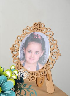 Laser Cut Decorative Photo Frame With Stand Free Vector