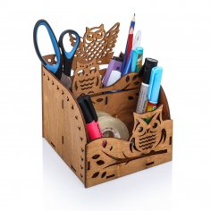 Laser Cut Owl Wooden Desktop Organizer Office Supplies Storage Rack Free Vector