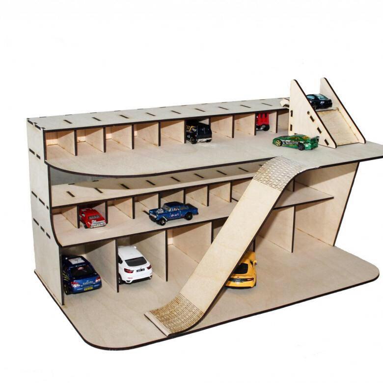 Laser Cut Wooden Toy Garage Cars Parking Free Vector