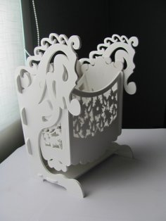 Laser Cut Wooden Rocker Pen Holder Free Vector