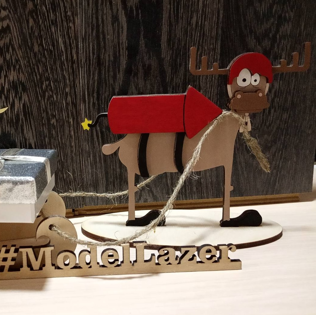 Laser Cut Reindeer and Sleigh Free Vector