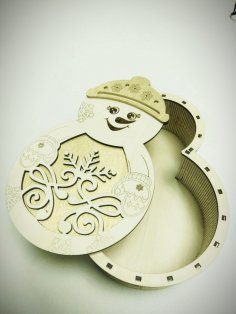 Laser Cut Christmas Snowman Gift Box Free Vector