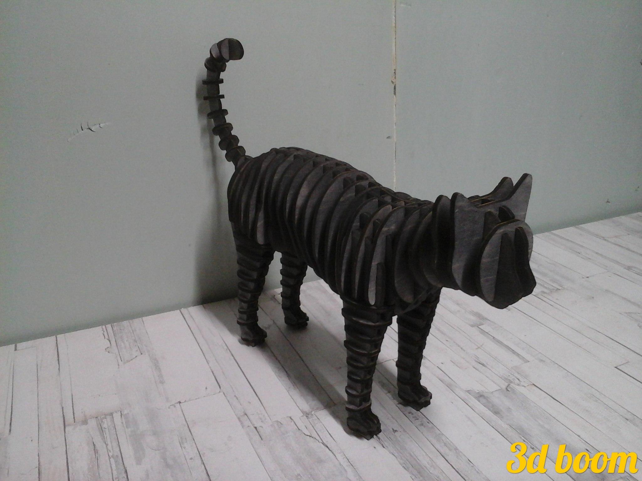 Cat Standing 3D Puzzle Laser Cut 4mm Free Vector