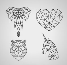 Polygonal Wildlife Animals Free Vector