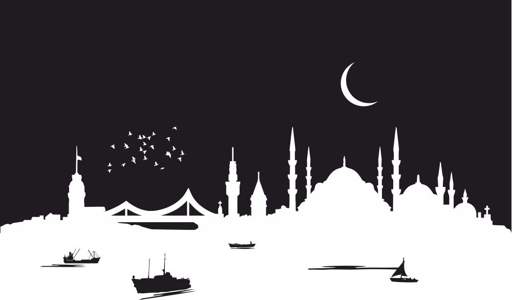 Istanbul City Skyline Silhouette Vector Art Free Vector