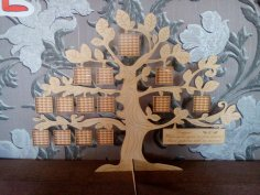 Laser Cut Tree Family Frame Free Vector