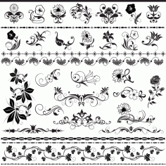 Floral Decorative Elements Free Vector