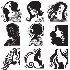 Women Hairstyle Silhouettes Free Vector