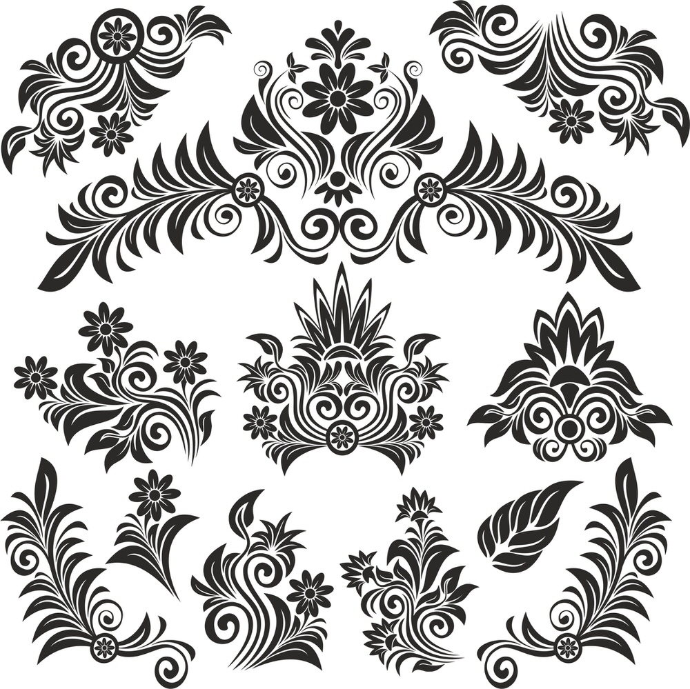 Flower Vintage Set Free Vector