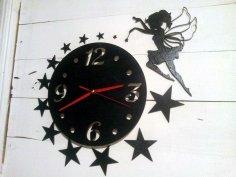 Laser Cut Wall Clock with Fairy Free Vector