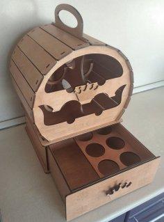Laser Cut Wine Barrel Mini Bar Free Vector