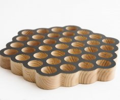Laser Cut Circle Honeycomb Trivet 19 Holes DXF File