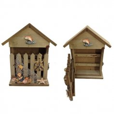 Laser Cut Decorative Wall Key Box House With Fence Free Vector