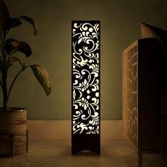 Laser Cut Flower Design Wooden Floor Lamp Free Vector