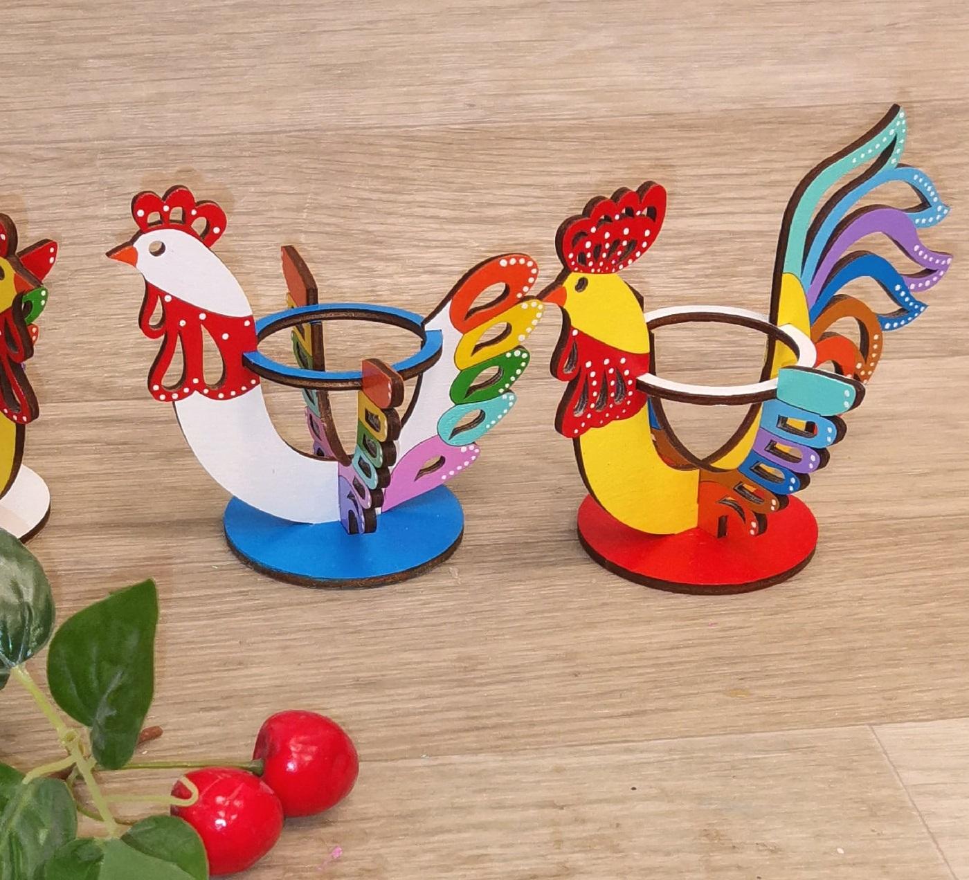 Laser Cut Rooster Egg Holder Easter Decorations Free Vector