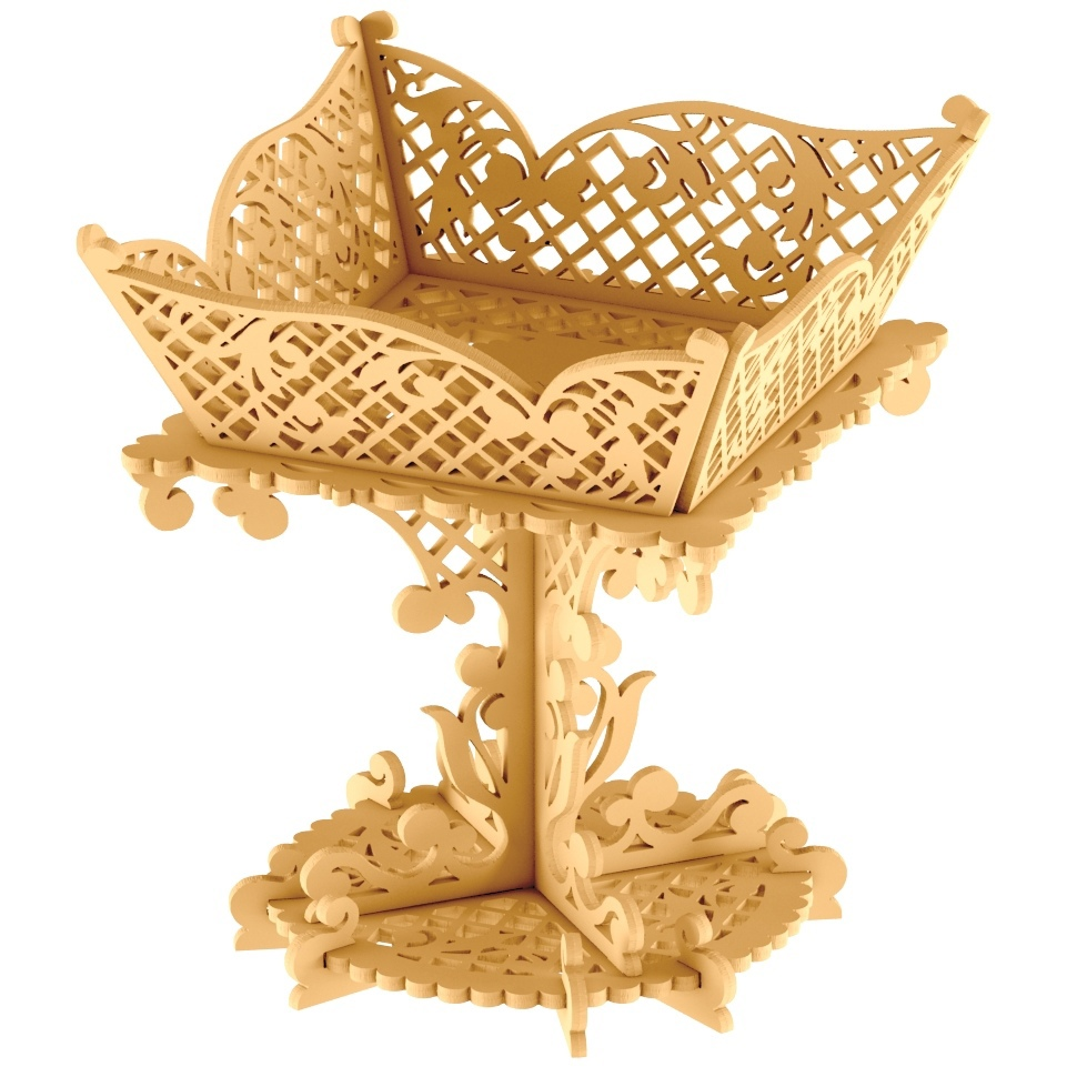 Laser Cut Decorative Wooden Fruit Tray Fruit Display Stand DXF File