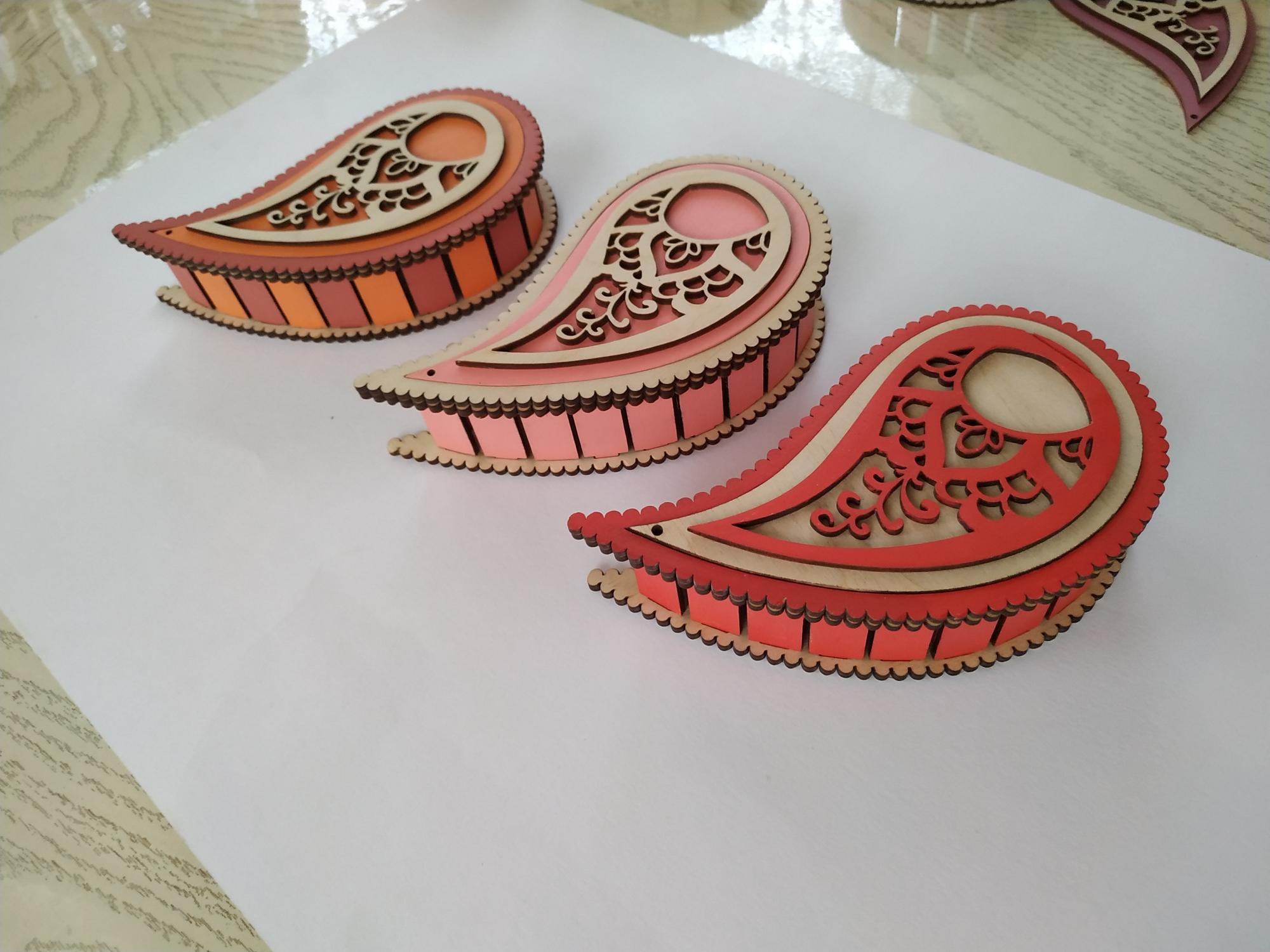 Laser Cut Wooden Decor Teardrop Box Yin Yang Box Free Vector
