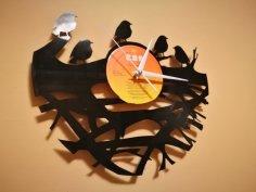 Orologio Vinile Clock Uccelli su Ramo dxf file