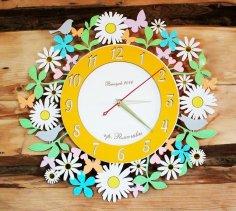 Laser Cut Chamomile Daisy Flower Wall Clock Free Vector