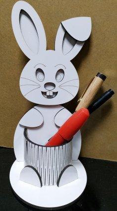 Laser Cut Bunny Pen Holder Free Vector