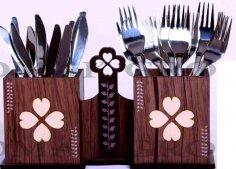 Laser Cut Wooden Kitchen Utensil Holder Cutlery Organizer Spoon Stand DXF File