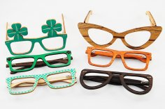 Laser Cut Wooden Party Glasses Frames Free Vector