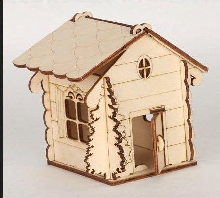 Laser Cut House Shaped Box With Tree Free Vector